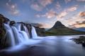 Картинка облака, пейзаж, закат, река, камни, гора, водопад