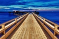 Картинка море, небо, пейзаж, мост, природа