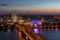 Картинка ночь, мост, огни, река, вокзал, Германия, собор