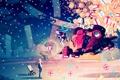Картинка девушка, облака, снег, ночь, робот, подарки, vocaloid