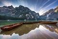 Картинка горы, озеро, лодки, Италия, Доломитовые Альпы