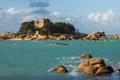 Картинка море, небо, камни, замок, скалы, остров