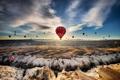Картинка полет, воздушные шары, скалы, пустыня