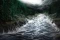 Картинка волны, лес, деревья, тучи, река, поток, арт