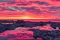 Картинка море, небо, облака, закат, камни, скалы, зарево