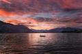 Картинка горы, озеро, рассвет, берег