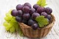 Картинка листья, виноград, корзинка