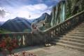 Картинка пейзаж, цветы, горы, водопад, ангел, лепестки, арт
