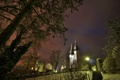 Картинка зима, снег, деревья, ночь, город, огни, парк