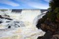Картинка река, камни, берег, растительность, водопад, поток