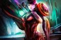 Картинка девушка, город, будущее, оружие, арт, броня
