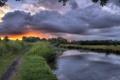 Картинка пейзаж, закат, река