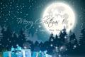Картинка новогодние елки, christmas tree, с Рождеством Христовым, happy new year, art, полная луна, full moon