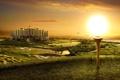 Картинка солнце, город, берег, факел