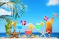 Картинка море, пляж, коктейль, summer, фрукты, beach, fresh