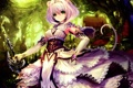 Картинка лес, девушка, деревья, природа, дом, оружие, меч