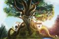 Картинка птицы, корни, дерево, грибы, домик