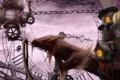 Картинка дракон, часы, арт, цепи, механизмы