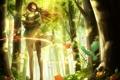 Картинка девушка, деревья, цветы, природа, карта, аниме, арт