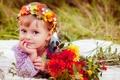 Картинка поле, лето, трава, цветы, природа, дети, букет