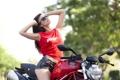 Картинка взгляд, девушка, мотоцикл, азиатка