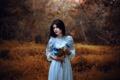 Картинка осень, взгляд, букет, платье, Ronny Garcia, Guardian of the garden