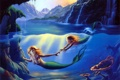 Картинка sea, art, painting, mermaid, cave, Mother and Child, Jim Warren