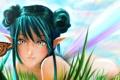 Картинка трава, девушка, бабочка, фея, арт, уши