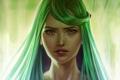 Картинка взгляд, девушка, лицо, фон, арт, зеленые волосы
