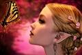Картинка девушка, цветы, лицо, бабочка, волосы, эльф, серьги