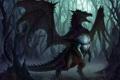 Картинка лес, туман, Дракон, скелет