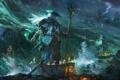Картинка море, шторм, молнии, дух, лодки, шляпа, свечи