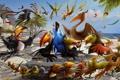 Картинка море, пляж, радость, настроение, мультик, птица, танец