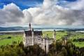 Картинка небо, облака, пейзаж, природа, замок, Германия, Бавария