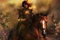 Картинка конь, перо, блеск, Девушка, всадница, искры