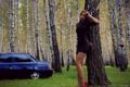 Картинка Девушка, берёзы, авто, woman, girl, лада, ножки