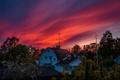 Картинка небо, деревья, закат, дома, вечер, зарево, Швеция