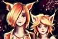 Картинка девочки, арт, лисы, сестры