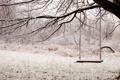 Картинка зима, снег, качели