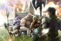 Картинка трава, город, оружие, арт, щит, final fantasy, персонажи
