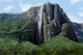 Картинка деревья, водопад, природа, арт, зелень, скала, гора