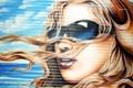 Картинка девушка, город, стена, граффити, очки