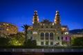 Картинка ночь, огни, пальмы, фонари, дворец, Монако, Monte Carlo