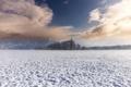 Картинка зима, поле, снег, небо