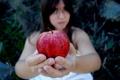 Картинка девушка, фон, яблоко