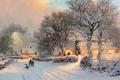 Картинка зима, дорога, свет, люди, собака, деревня