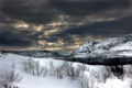 Картинка зима, небо, снег, горы, тучи, река