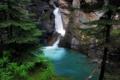 Картинка скала, озеро, водопад, ель