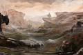 Картинка поход, кони, люди, трава, арт, скалы, животные