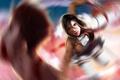 Картинка взгляд, девушка, лицо, оружие, кровь, аниме, арт